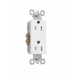 Pass & Seymour 885-W Decora Duplex Receptacle, 15A, 125V, White, 5-15R