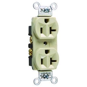 Pass & Seymour CRB5362-I Duplex Receptacle, 20 Amp, 125 Volt, Ivory