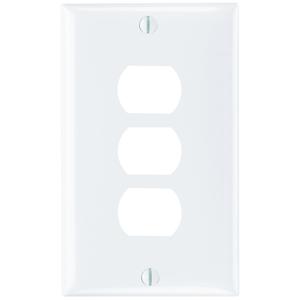 Pass & Seymour K3-W Plate Plst Des Horz 3dev 1g W/line