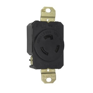 Pass & Seymour L520-R Locking Receptacle, 20A, 125V, Black