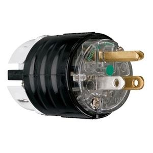 Pass & Seymour PS5266-XHG Hospital Grade Plug, 15A, 125V, 2P3W, 5-15P, Black/Clear