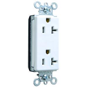 Pass & Seymour PT26352-W PlugTail Decora Duplex Receptacle, 20A, 125V, White, 5-20R