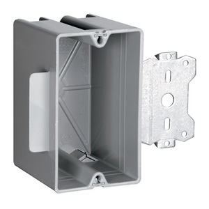 "Pass & Seymour S1-18-S50 Switch/Outlet Box with Bracket, Depth: 2.71"", 1-Gang, Non-Metallic"