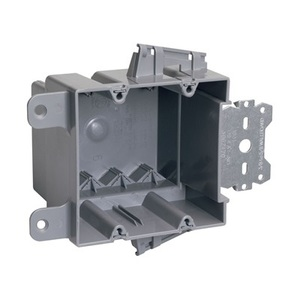 "Pass & Seymour S2-35-S50AC Switch/Outlet Box with Bracket, Depth: 3.375"", 2-Gang, Non-Metallic"