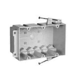 "Pass & Seymour S3-54-RAC Switch/Outlet Box, 3-Gang, Depth: 3-3/8"", Nail-On, Non-Metallic"