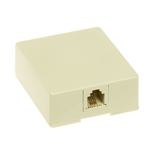 Pass & Seymour SMTE14-I Telephone, Surface Mount, 1 Port, Jack, 8P4C, RJ11, Ivory