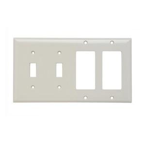 Pass & Seymour SP2262-LA Wallplate 4-Gang, (2) Toggle (2) Decora, Thermoset, Light Almond
