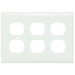 Pass & Seymour SP83-W Duplex Receptacle Wallplate, 3-Gang, Steel, Thermoset, White