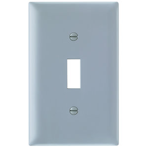Pass & Seymour TP1-GRY Toggle Switch Wallplate, 1-Gang, Nylon, Gray