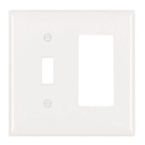 Pass & Seymour TP126-W 2-Gang Wallplate, Decora/Toggle, Nylon, White