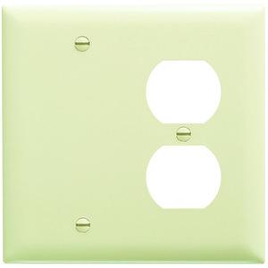 Pass & Seymour TP138-I Wallplate, 2-Gang, Blank/Duplex, Nylon, Ivory