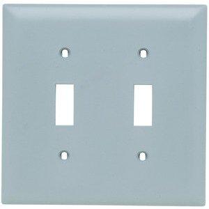 Pass & Seymour TP2-GRY Toggle Switch Wallplate, 2-Gang, Nylon, Gray