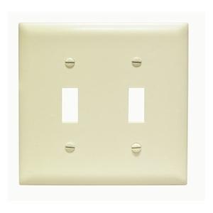 Pass & Seymour TP2-I Toggle Switch Wallplate, 2-Gang, Ivory Nylon