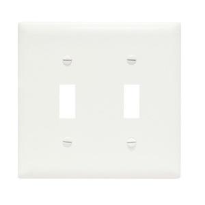 Pass & Seymour TP2-W Toggle Switch Wallplate, 2-Gang, Nylon, White