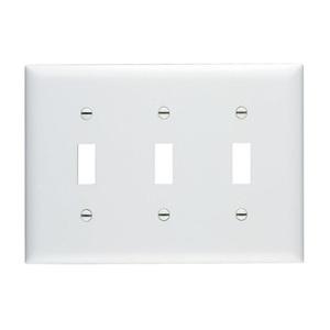Pass & Seymour TP3-W Toggle Switch Wallplate, 3-Gang, Nylon, White