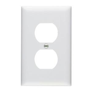 Pass & Seymour TP8-W Duplex Receptacle Wallplate, 1-Gang, Nylon, White