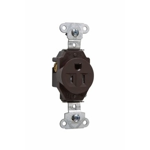 Pass & Seymour TR5251 Tamper Resistant Single Receptacle, 15A, 125V, Brown