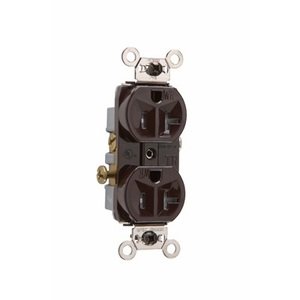 Pass & Seymour WR20-TR Weather/Tamper Resistant Duplex Receptacle, 20A, 125V, Brown