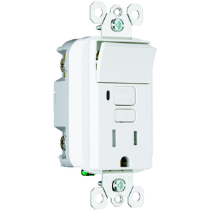 Pass & Seymour 1595-SWTTRWCC4 Switch/GFCI Receptacle Combo, 15A, 125V, White