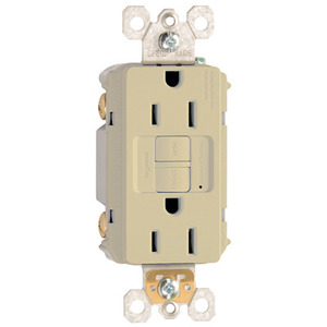 Pass & Seymour 1597-I Self-Test GFCI Duplex Receptacle, 15A, 125V, Ivory, Spec Grade