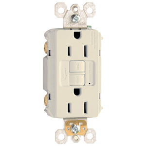 Pass & Seymour 1597-LA Self-Test GFCI Duplex Receptacle, 15A, 125V, Light Almond