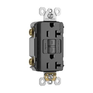 Pass & Seymour 2097-BK Spec-Grade GFCI Receptacle, Self-Test, 20A, Black