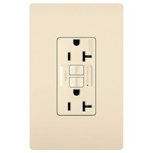 Pass & Seymour 2097-LA Self-Test GFCI Receptacle, 20A, 125V, Light Almond, Spec Grade