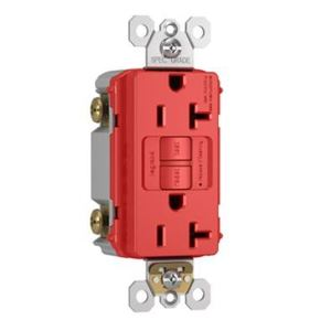Pass & Seymour 2097-RED Self-Test GFCI Receptacle, 20A, 125V, Red, Spec Grade