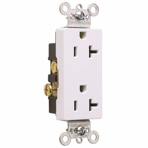 Pass & Seymour 26342-W Decora Duplex Receptacle, 20A, 125V, White, 5-20R