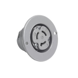 Pass & Seymour 4716-SS Flanged Inlet, 15 Amp, 125V, Gray