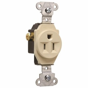 Pass & Seymour 5251-I Single Receptacle, 15 Amp, 125 Volt, Ivory