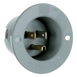 Pass & Seymour 5278-SS Flanged Inlet, 15 Amp, 125V, Gray