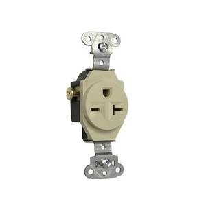 Pass & Seymour 5851-I Single Receptacle, 20 Amp, 250 Volt, Ivory