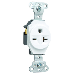 Pass & Seymour 5851-W Single Receptacle, 20 Amp, 250 Volt, White