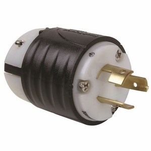 Pass & Seymour 7311-SS Locking Plug, Non-NEMA, 20A, 125/250V, Black/White