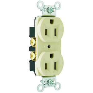 Pass & Seymour CRB5262-I Duplex Receptacle, Wide, 15A, 125V, 5-15R, Ivory