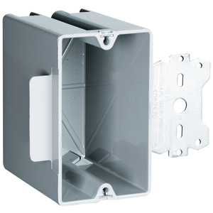 "Pass & Seymour S1-22-S50 Switch/Outlet Box with Bracket, Depth: 3.375"", 1-Gang, Non-Metallic"