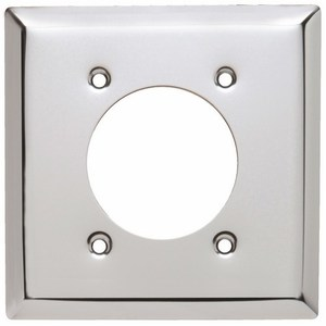"Pass & Seymour S3862-C Power Outlet Wallplate, 2-Gang, 2.1563"" Opening, Chrome"