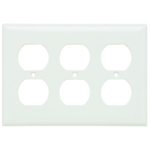 Pass & Seymour SP83-W Duplex Receptacle Wallplate, 3-Gang, Steel, Thermoset, White