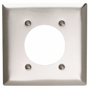 "Pass & Seymour SS703 Single Receptacle Wallplate, 2-Gang, 2.16"" Opening, Stainless Steel"