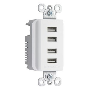 Pass & Seymour TM8USB4-WCC6 USB Charger Receptacle, 4-Port, White