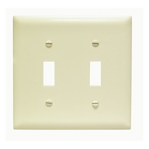Pass & Seymour TP2-I Toggle Switch Wallplate, 2-Gang, Ivory Nylon
