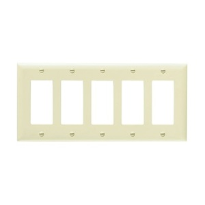 Pass & Seymour TP265 Decora Wallplate, 5-Gang, Nylon, Brown