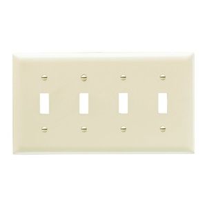 Pass & Seymour TP4-LA Toggle Switch Wallplate, 4-Gang, Nylon, Lt. Almond