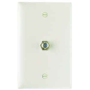 Pass & Seymour TPCATV-LA Wall Plate & Connector, F Coaxial, 1-Gang, Light Almond