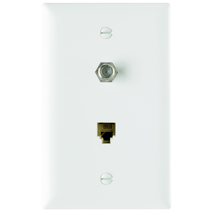 Pass & Seymour TPTELTV-W Wall Plate & Connector, F Coaxial and Telephone Jack, 1-Gang, White
