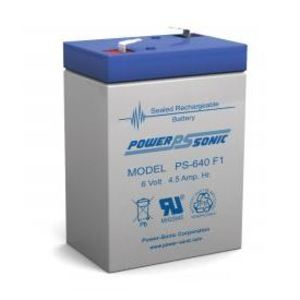 Power-Sonic PS640F Sealed Rechargeable Battery, 6 Volt 4.50 AH