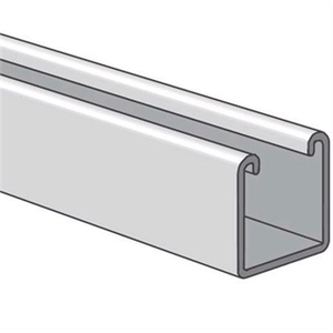 "Power-Strut PS200-10AL Channel - No Holes, Aluminum, 1-5/8"" x 1-5/8"" x 10'"