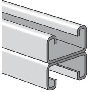 "Power-Strut PS200-2T3-20PG Channel - Back To Back, Steel, Pre-Galvanized, 1-5/8"" x 3-1/4"" x 20'"
