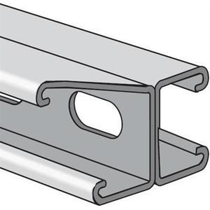 "Power-Strut PS200EH-2T3-20PGAL Channel - Back To Back, Steel, Holes, Pre-Galvanized, 1-5/8"" x 3-1/4"" x 20'"